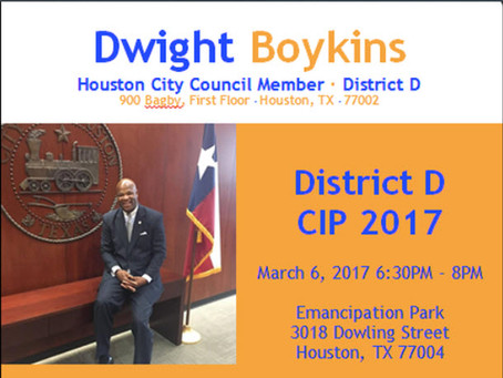 District D CIP Meeting, March 6, 2017