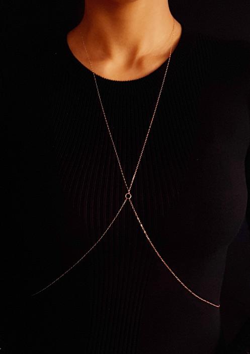 Rose Gold Criss-Cross Body Chain | Vancouver | Ethos Myth Design Inc