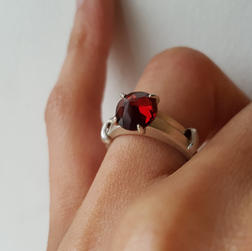 Juicy Garnet Silver Ring