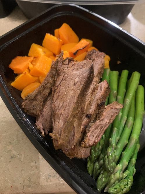 Flank Steak with Butternut Squash and Asparagus