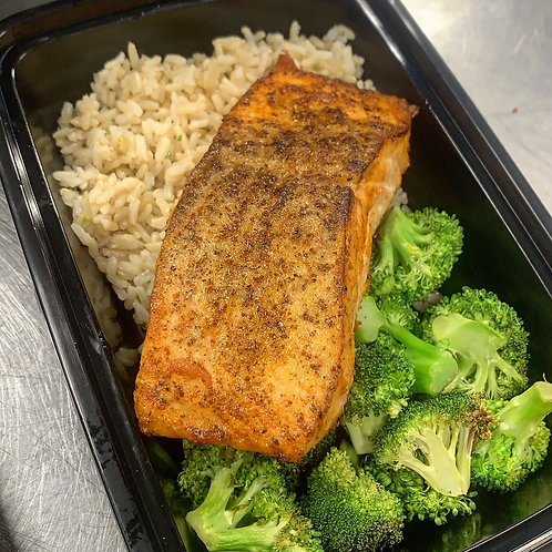 Blackened Salmon over Broccoli and Brown Rice