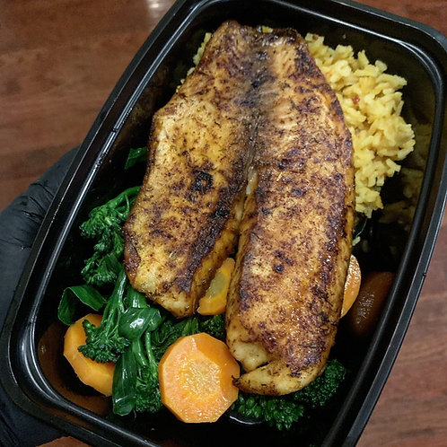 Blackened Tilapia over Carrots and Broccolini