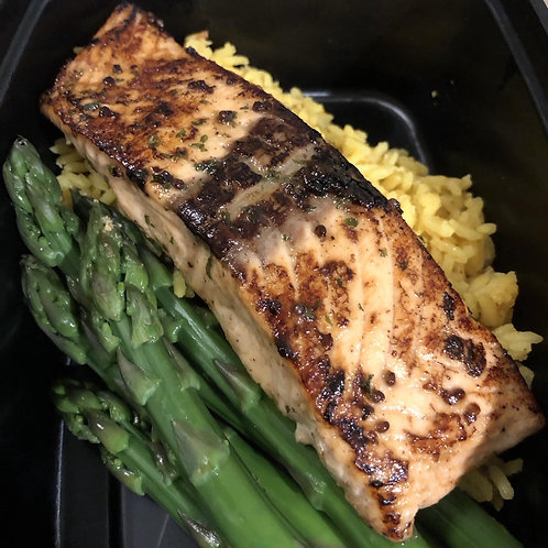 Pan Seared Salmon with Asparagus and Rice