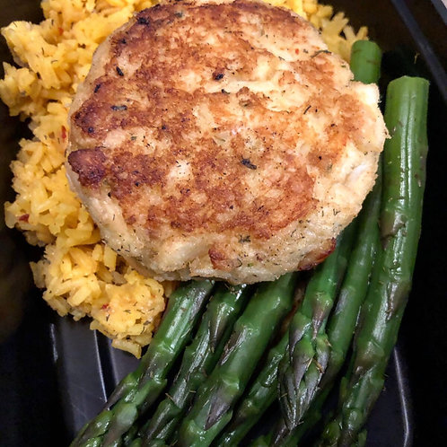 Jumbo Crab Cake with Asparagus and Saffron Rice