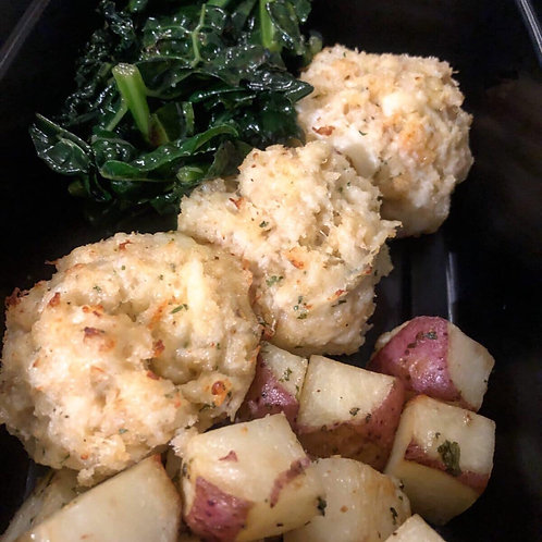 3 Mini Crab Balls with Roasted Red potatoes and Kale