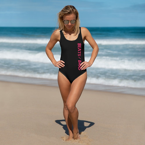 Black n Hot Pink One-Piece Swimsuit
