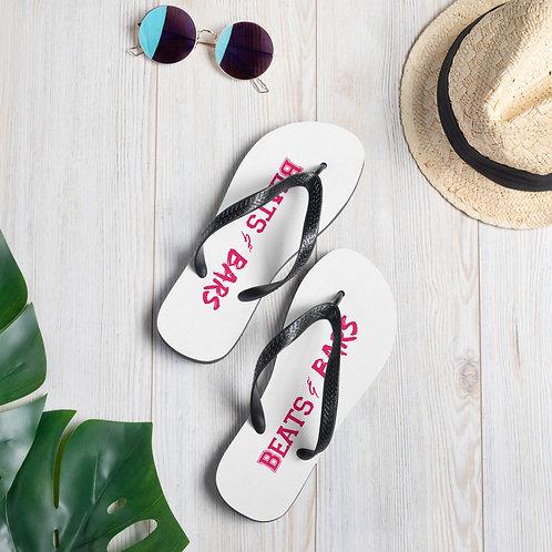 White n Hot Pink Flip-Flops