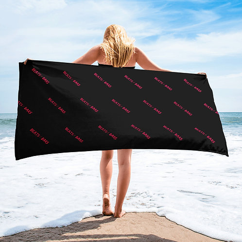 Black and Hot Pink Beach Towel