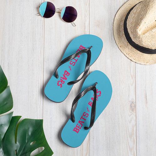 Blue n Hot Pink Flip-Flops