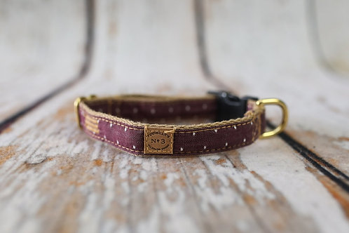 Burgundy Pin Dot Collar