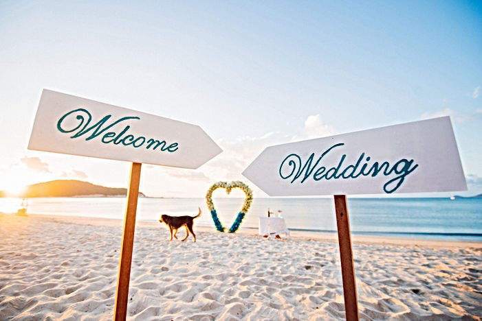 "Wooden sign that read, ""welcome wedding"""