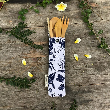 Bamboo cutlery set with Ocean style Mini pouch case
