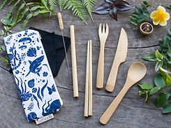 Bamboo Cutlery Set with Placemat Case, Fork, Knife, Spoon, Chopsticks, Straw, Cleaner, Napkin