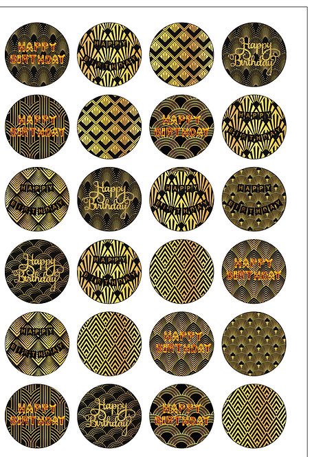 24 Happy BIRTHDAY ART DECO Style Pre-Cut Edible Wafer Paper Cake Toppers