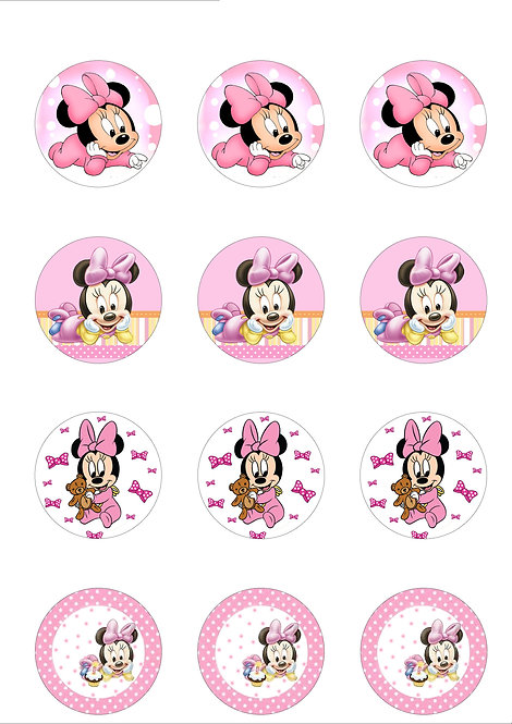 Baby Minnie Mouse 5cm Circle Thin Edible Wafer Paper