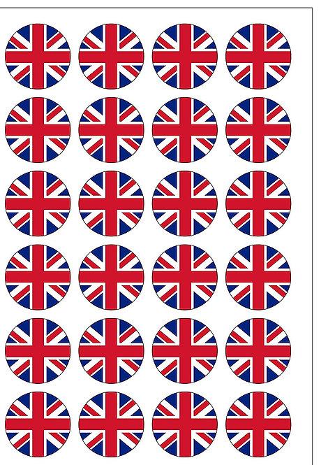 24 Royal Union Jack Flag Pre-Cut Thin Edible Wafer Paper