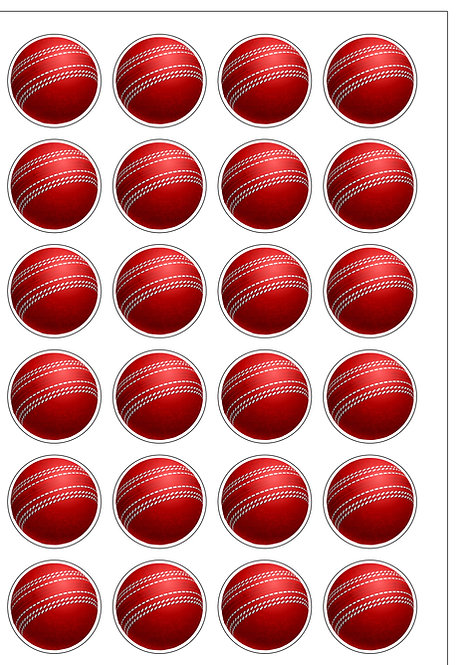 24 Precut Cricket balls Edible Wafer Paper Toppers Decorations