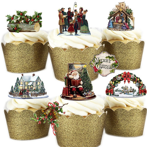 29 Stand Up Edible Wafer Paper Vintage Victorian Christmas Toppers