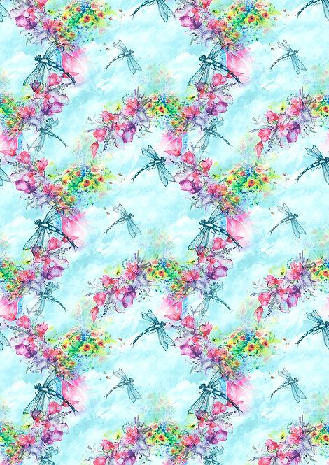 Dragonfly Flower Design Wallpaper Decor Icing Sheet