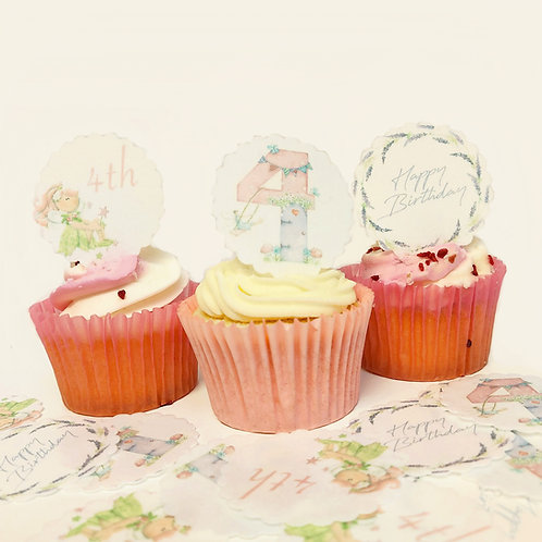 15 Pre-Cut Scalloped Edge Girls 4th Happy Birthday Edible Thick Wafer