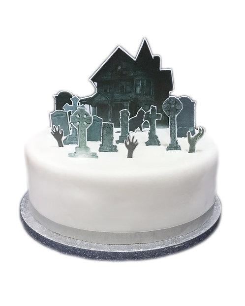 Grave Yard Halloween Scene Edible Wafer Paper Cake Topper