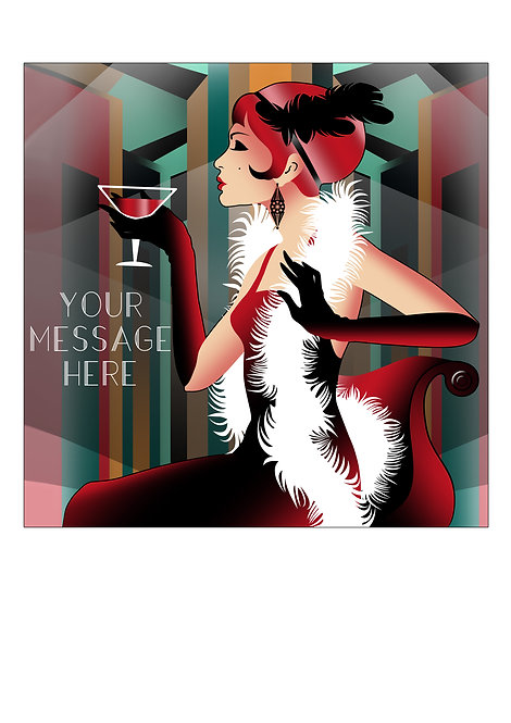 Art Deco Party Girl PERSONALISED MESSAGE 7.5 Inch SQUARE Decor Icing Topper