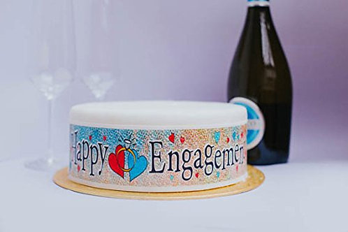 Happy Engagement Borders Decor Icing Sheet