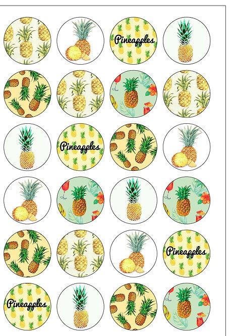 24 Tropical Pineapple Pre-Cut Thin Edible Wafer Paper