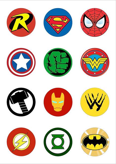 Superhero Logo 5cm Circle Thin Edible Wafer Paper