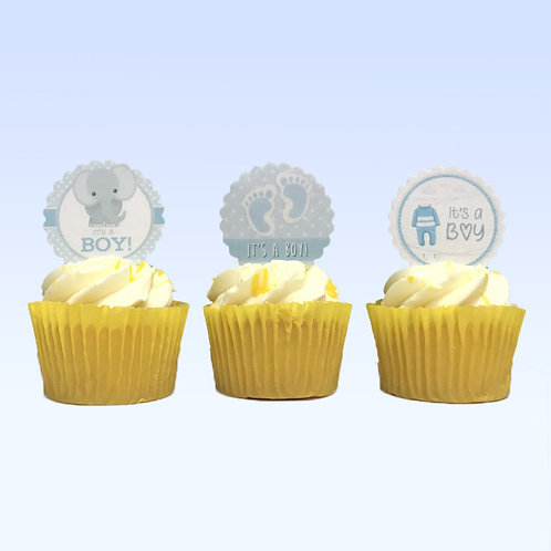 15 Pre-Cut Scalloped Edge Baby Boy Shower Edible Thick Wafer Paper