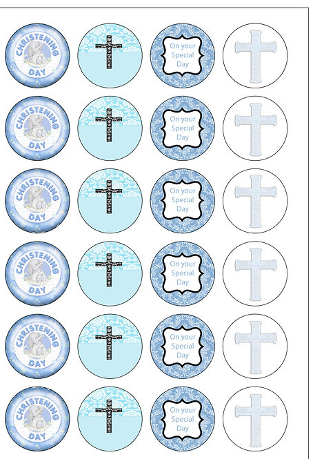24 Baby BOY Christening Pre-Cut Thin Edible Wafer Paper