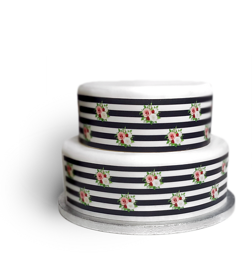 Black and White Stripe Pink Rose Border Edible Decor Icing Sheet Cake Decoration