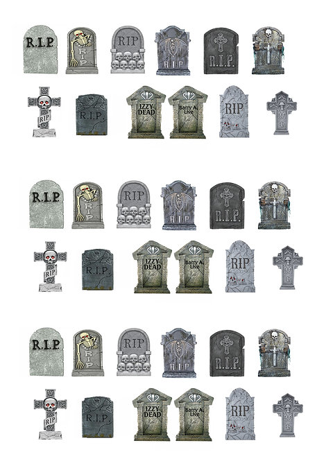 36 Stand Up Edible Wafer Paper Halloween Gravestones Toppers