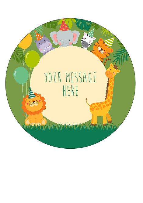 Cute Animal Party Themed PERSONALISED MESSAGE 7.5 Inch Circle Decor Icing Sheet