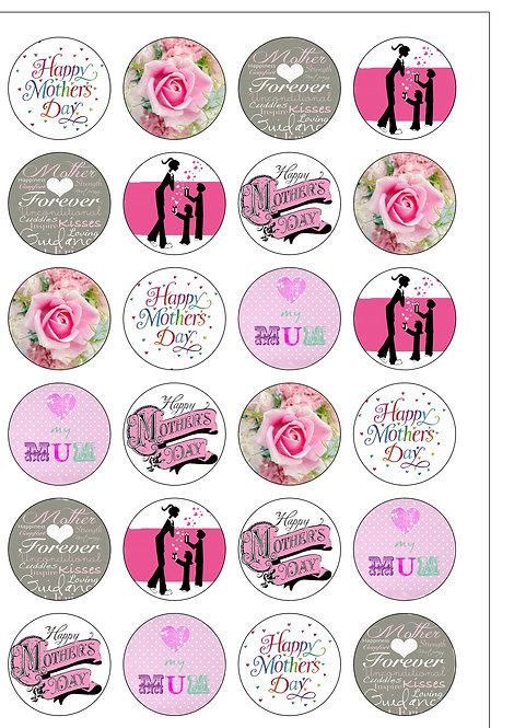 24 Happy Mother's Day Pre-Cut Thin Edible Wafer Paper