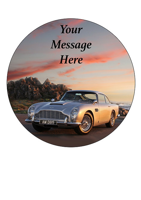 Classic Car Aston Martin PERSONALISED MESSAGE 7.5 Inch Circle Decor Icing Topper