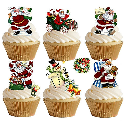 29 Stand Up Edible Wafer Paper Classic Father Christmas Toppers