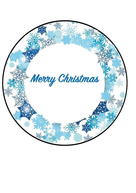 Blue Snowflake Merry Christmas 7.5 Inch Circle Decor Icing Sheet