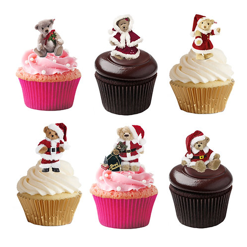 33 Stand Up Edible Wafer Paper Santa Teddy Bear Toppers