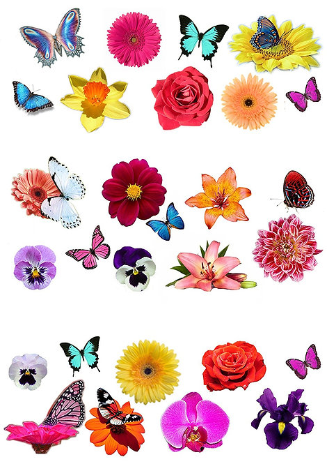 28 Flower and Butterflies Flower Toppers Edible Thin Wafer Paper