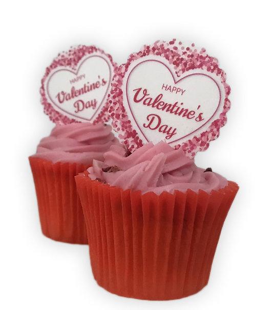 15 Pre-Cut Scalloped Edge Happy Valentine's Day Edible Thick Wafer Paper