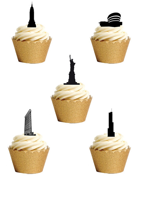 28 Stand Up Edible Wafer Paper New York Black & White Silhouette Cake Toppers