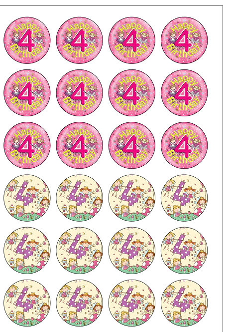 24 GIRL Age 4 FOUR Birthday Pre-Cut Thin Edible Wafer Paper