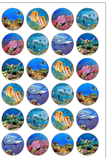 24 Underwater Sea Coral Tropical Pre-Cut Thin Edible Wafer Paper