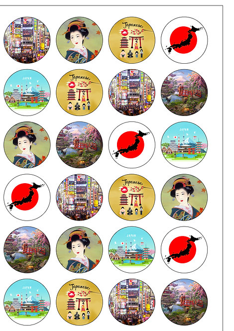 24 Japan Japanese Pre-Cut Edible Wafer Paper Cake Toppers
