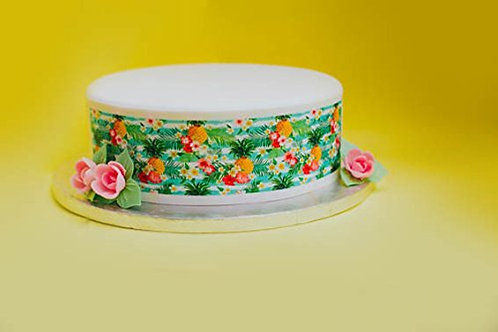 Tropical Pineapple Flower Border Decor Icing Sheet Cake Decoration