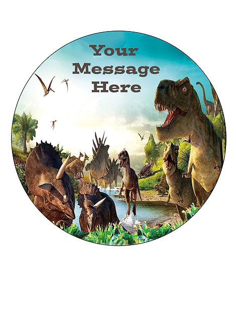 Dinosaur Jurassic Design PERSONALISED MESSAGE 7.5 Inch Circle Decor Icing Sheet