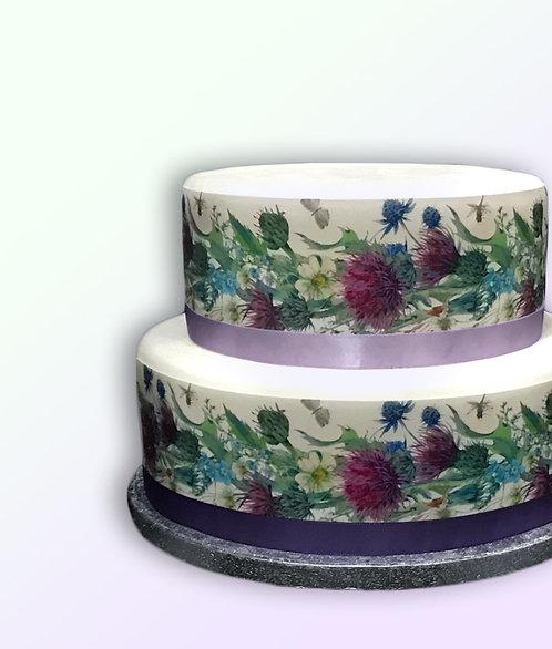 Thistle Dandelion Floral Flower Border Decor Icing Sheet Cake Decoration