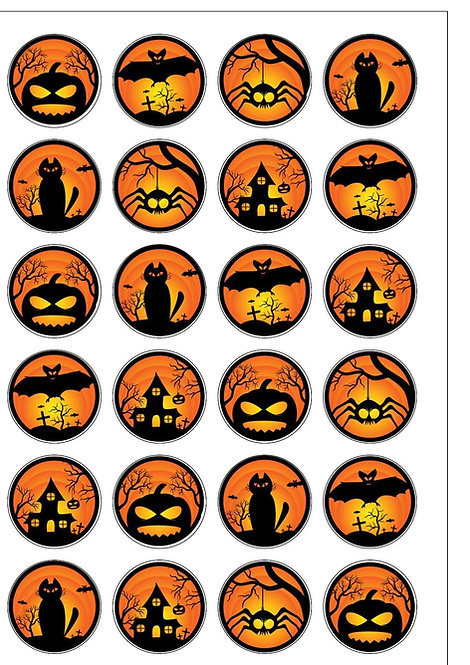 Black and Orange Halloween Pre-Cut Thin Edible Wafer Paper