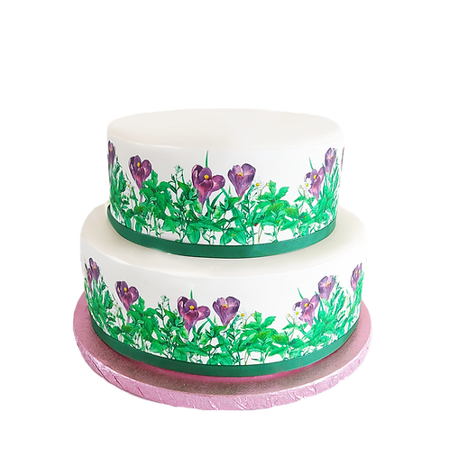 Purple Crocus Flower Border Decor Icing Sheet Cake Decoration
